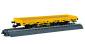 H0 Niederbordwagen mit Antrieb, gelb, Funktionsmodell für Dreileitersysteme