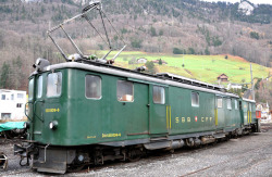 SBB Bruenig Deh 120 012 rack track railcar green