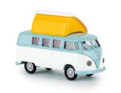 VW Camper T1b pastelltürkis/weiß mit offenem Dormobildach