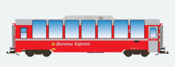 Panoramawagen BEX, Pullman  IIm, RhB Bp 2502, BERNINA rot, Ep VI
