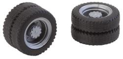 2 wheels (twin tyres) NQ tyres and rims for lorries / various buses