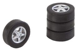 4 tyres and rims for passenger cars large / tourist train