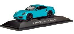 Porsche 911 Turbo S, miamiblau