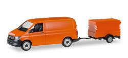 VW T6 Transporter mit Planen - Anhänger, kommunalorange