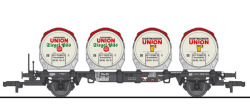 $$ Behältertragwagen BTms 55 mit 4 Behältern Ddikr 624, DB, Ep.IV