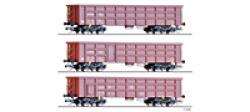 Güterwagenset der On Rail GmbH, bestehend aus drei offenen Güterwagen Eaos, Ep. VI