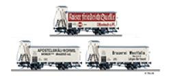 Güterwagenset der K.P.E.V., bestehend aus drei Kühlwagen, Ep. I
