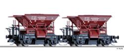 Güterwagenset der DRG, bestehend aus zwei Schotterwagen, Ep. II