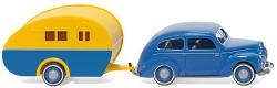 Ford Taunus G73A mit Reiseanhänger - blau/gelb