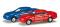 Herpa 065146-002 Mercedes-Benz CLK 2er Set 1:160, blau / rot