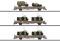 Märklin 46934 Niederbordwagenset Kbs,Militär,DSB,Ep.IV
