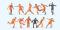Preiser 10761 Fussballmannschaft.Orange Trikots und Hosen