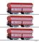 """Tillig 01790 Güterwagenset """"Braunkohlezug 3"""" der DR, bestehend aus drei Selbstentladewagen OOt 47, beladen mit Echtbraunkohle, Ep. III"""