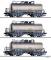 Tillig 01793 Güterwagenset der DR, bestehend aus drei Kesselwagen ZZ 52, vermietet an VEB Teerverarbeitung Rositz, Ep. III