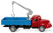 Wiking 042002 Flatbed truck w. loading crane (Magirus S 3500) - red/blue