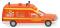 Wiking 060701 Feuerwehr - Krankenwagen (MB Binz) - tagesleuchtrot